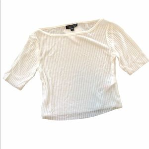 TopShop Crop Top Shirt Fitted Stretch Short Sleeve